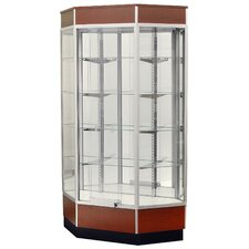 "Streamline 34"" x 18"" Front Opening Inside Corner Trophy Case with Mirror Back"