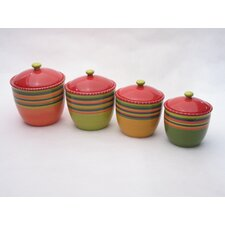 Hot Tamale Canister with Lid (Set of 4)