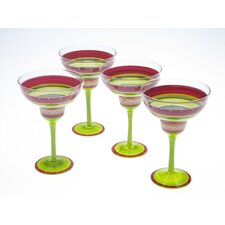 Hot Tamale Hand Painted Margarita Glass (Set of 4)