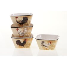 "Avignon Rooster 5.75"" x 2.5"" Ice Cream Bowl (Set of 4)"