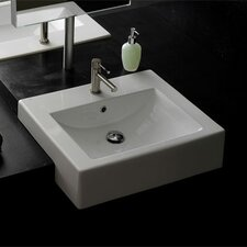 Semi Recessed Single Hole Bathroom Sink
