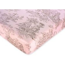 Pink and Brown Toile Fitted Crib Sheet