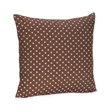Pink and Brown Toile Decorative Pillow with Dot Print