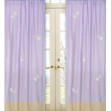 Purple Dragonfly Dreams Cotton Curtain Panel Pair