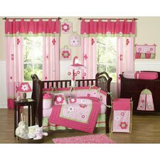 Flower Pink Green Crib Bedding Collection
