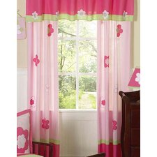 Flower Pink and Green Cotton Curtain Panel Pair