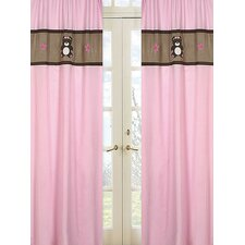 Teddy Bear Pink Curtain Panel Pair