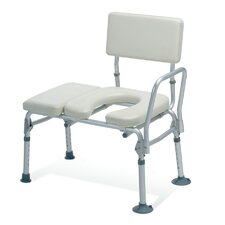 Padded Transfer Bench with Commode Opening