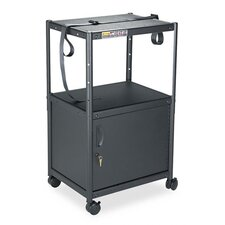 Five-In-One Adjustable-Height AV Cart with Cabinet in Gray
