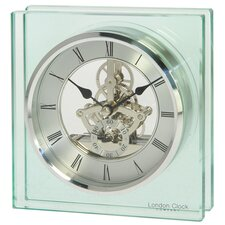 Square Glass Skeleton Mantle Clock