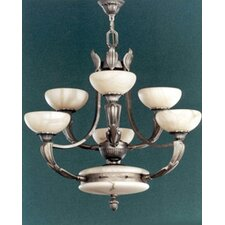 Osma Six Light Chandelier in Satin Leather