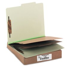Pressboard 25-Point Classification Folders, Ltr, 6-Section, Leaf Green, 10/box