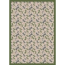 Nature Beige Dragonflies Novelty Rug