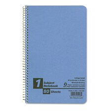 Small Size Notebook, College/Medium Rule, 6 x 9-1/2, White, 80 Sheets/pad