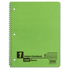 Earthwise By Oxford Twin Wire Subject Notebook, College/Med Rule, 8-1/2 X 11, We, 100 Sheets