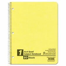Earthwise By Oxford Wirelock Subject Notebook, Quadrille Rule, 8-1/2 X 11, We, 80 Sheets/Pad