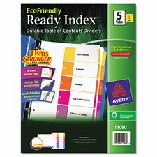 Ecofriendly Ready Index Table of Contents Divider, 1-5 Tabs, 3/Pack