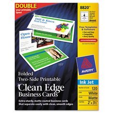 Clean Edge Inkjet Business Cards, 120/Pack