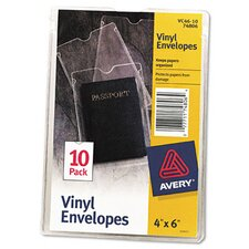 Top-Load Clear Vinyl Envelopes with Thumb Notch, 10/Pack