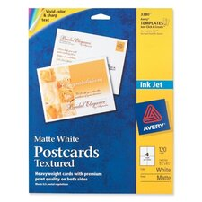 "Post Cards, Textured, Card Size 4-1/4""x5-1/2"", Matte, 120 per Box, White"