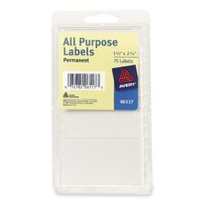 "All-Purpose Labels, Permanent, 1-1/2""x2-3/4"", 75 per Pack, White"