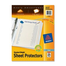 "Sheet Protector, Standard-Weight, 8-1/2""x11"", 25 per Pack, Clear"