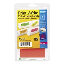 Print or Write Removable Color-Coding Laser Labels, 1x3, Assorted Neon, 200/Pack