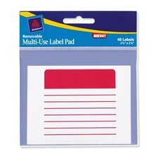 "Label Pad, Multiuse, Lined, 2-5/8""x5/8"", Assorted"
