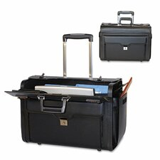 Rolling Leather Laptop Briefcase