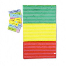 Adjustable Tri-Section Pocket Chart with 18 Color Cards, Guide