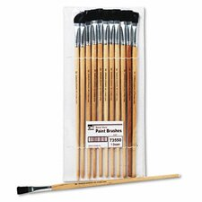 "Flat Fine-Grade Natural Bristle Easel Brush, Hardwood Handle, 1/2"" Wide, 12 per pack"
