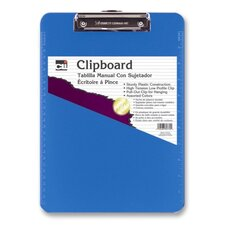 Plastic Clipboard, w/ Rubber Grip, Letter, Neon Blue