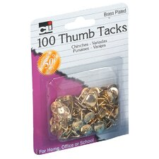 "0.38"" Brass Plated Thumb Tack 100 Count"
