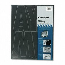 Chartpak Press-On Vinyl Uppercase Letters, Self Adhesive, 38/Pack