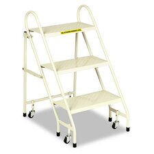 Steel Folding Three-Step Ladder with Retracting Casters, Beige