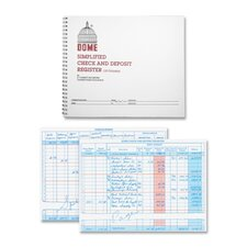 "Check/Deposit Register, 50 Pages, 10-1/4""x8-1/2"", Gray"