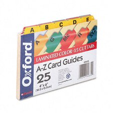 Oxford Laminated Index Card Guides, Alpha, 1/5 Tab, 4 X 6 (Set of 25)