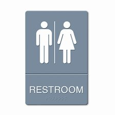 ADA Restroom Sign, Large Restroom Symbol Tactile Graphic, Molded Plastic, 6 x 9