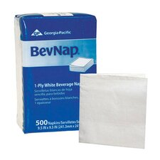 BevNap Beverage Napkins 1-Ply in White