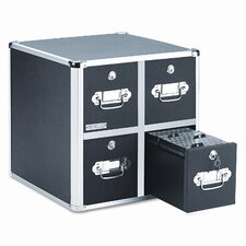 Four-Drawer CD File with Key Lock Holds 660 Discs, 14-1/2 x 15 x 14-3/4, Black