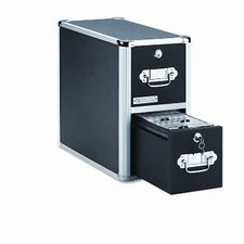 Two-Drawer CD File with Key Lock Holds 330 Discs, 8-1/4 x 15-1/4 x 14-7/8, Black