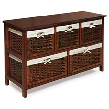 5 Wicker Basket Storage Unit