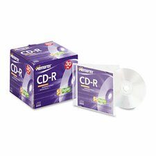 CD-R Discs, 700MB/80min, 52x, with Slim Jewel Cases, Silver, 30/Pack