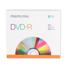 DVD-R, 16X, 4.7GB, Branded w/ Slim Jewel Case, 5 per Pack