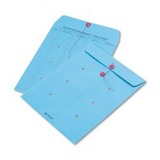 Colored Paper String & Button Interoffice Envelope, 10 x 13, Blue,100/carton