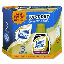 Fast Dry Correction Fluid, 22ml Bottle, White, 3 per Pack
