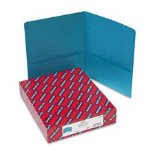 Two-Pocket Portfolio, Embossed Leather Grain Paper, 100-Sheet Capacity, Teal
