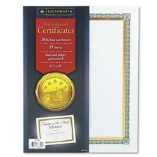 Foil-Enhanced Parchment Certificates, 24 Lb, 15/Pack