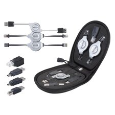 7-in-1 Retractable Cable Travel Kit w/ Adapter, Black/Silver