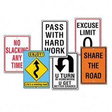"Assorted ""Life Signs"" Themed Motivational Prints, 6/Pack"